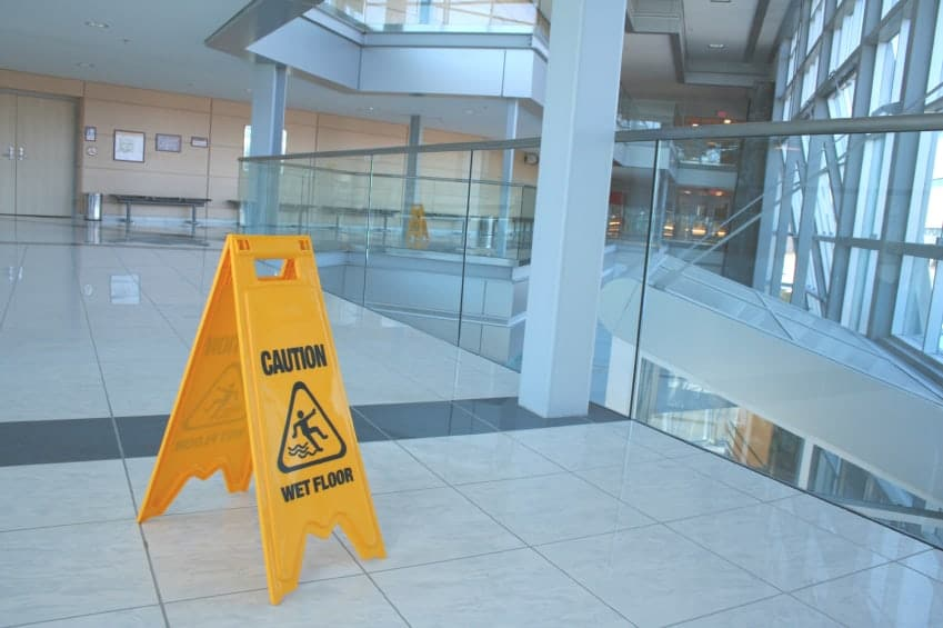 Wet floor sign on government or public property