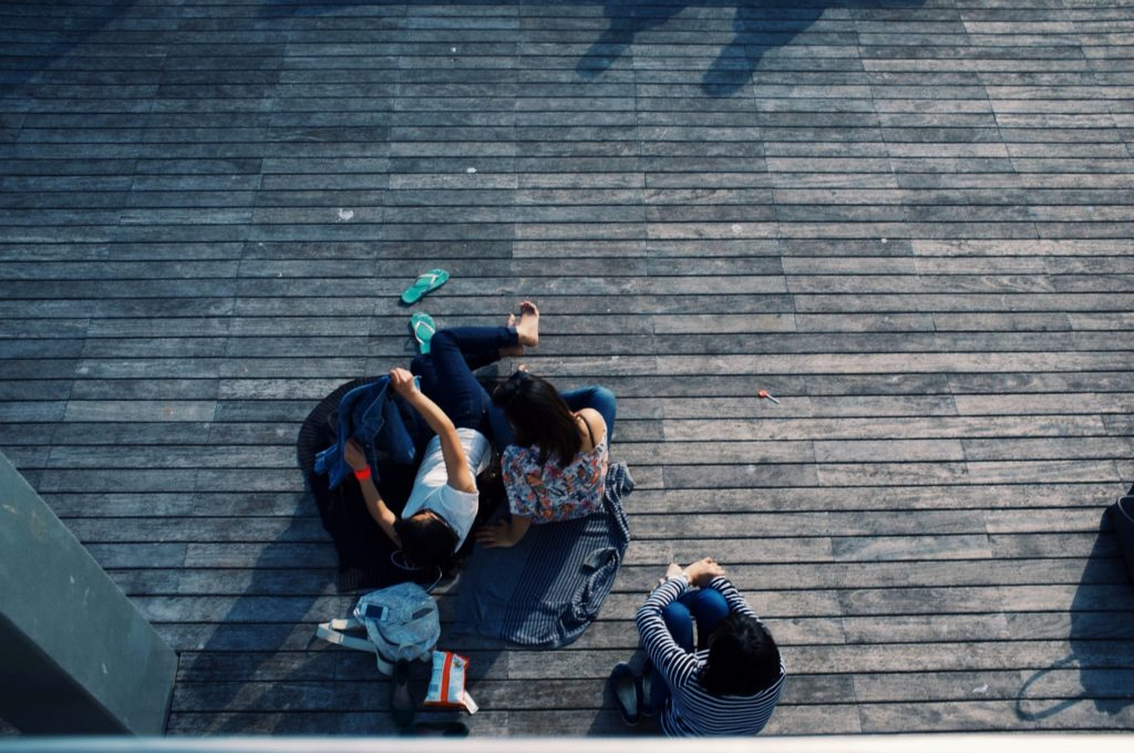 People sitting on a deck