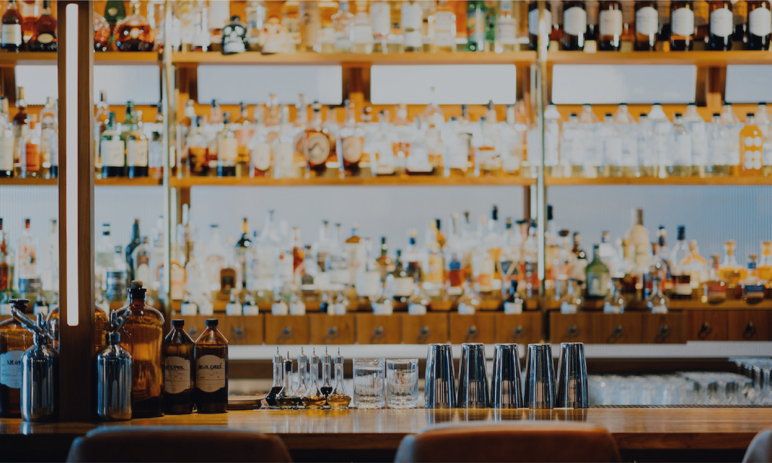 Bar and liquor bottles at a dram shop