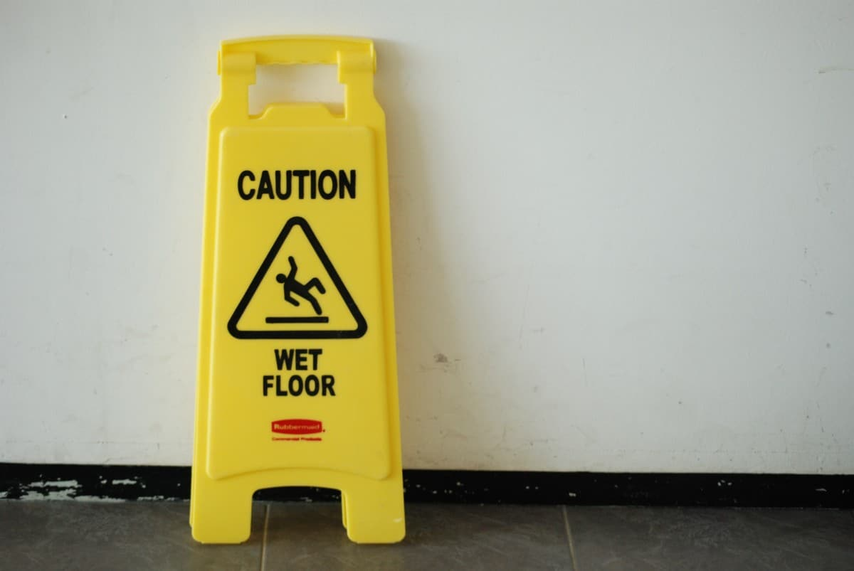 Wet floor sign to prevent slip and fall accidents